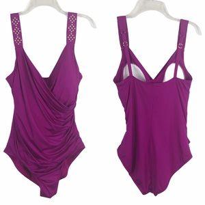 Jantzen Swimsuit Ruched Studded Bathing Suit 16